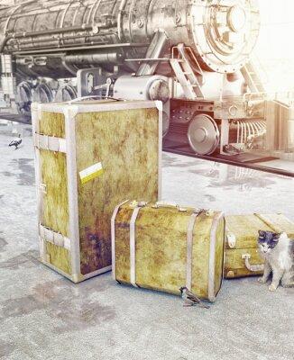Obraz starego rocznika bagażu
