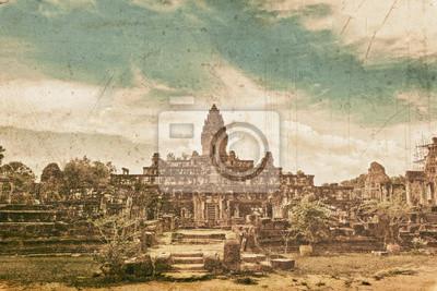 Starożytna buddyjska świątynia Khmerów w stylu retro