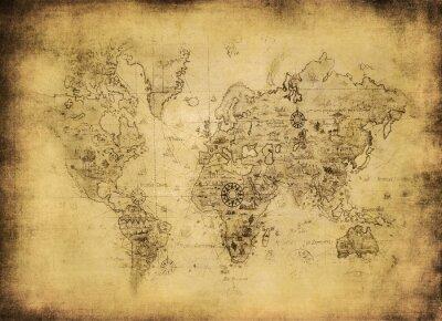 Obraz Starożytna mapa świata.