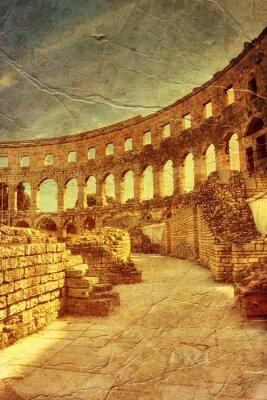 Obraz starożytny arena w Pula, Chorwacja - obraz w stylu retro artystycznej