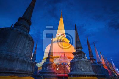 Obraz Starożytny Pagoda w świątyni Wat Mahathat, Sceny nocne, Tajlandia