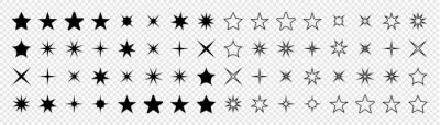 Obraz Stars collection. Star vector icons. Black set of Stars, isolated on transparent background. Star icon. Stars in modern simple flat style. Vector illustration
