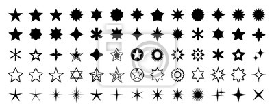 Obraz Stars set of 65 black icons. Rating Star icon. Star vector collection. Modern simple stars. Vector illustration.
