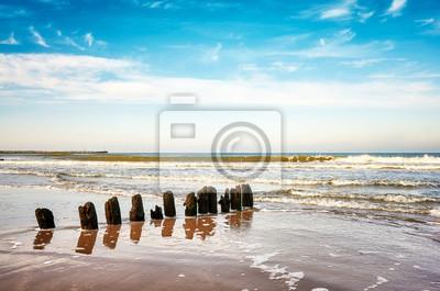 Stary drewniany groyne na plaży, pokojowy naturalny tło.