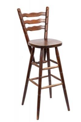 Stary drewniany stołek barowy, odizolowane na białym