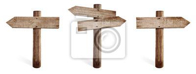 Obraz Stary drewniany znak drogowy zestaw w tym prawo, w lewo i po obu stronach