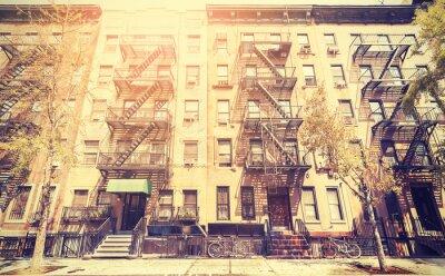 Obraz Stary film stylu retro zdjęcie ulicy w Nowym Jorku, USA.