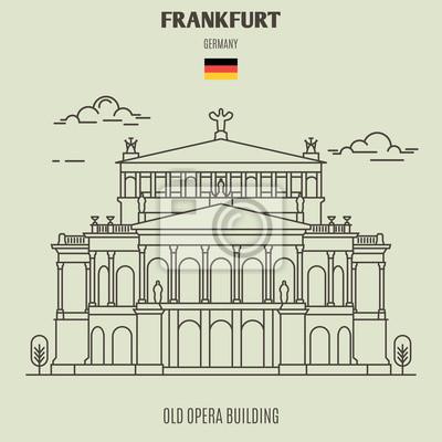 Stary opera budynek w Frankfurt, Niemcy. Ikona punktu orientacyjnego