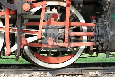 stary parowóz koła żelazo szczegóły