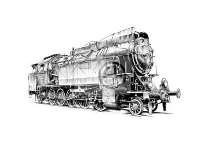 stary parowóz silnik rocznika retro