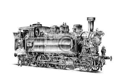 Obraz stary parowóz silnik rocznika retro