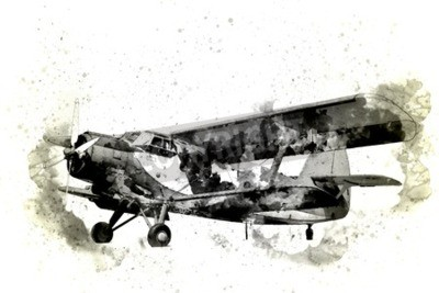 Obraz Stary samolot na białym tle