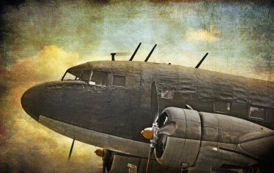 Obraz Stary samolot wojskowy, grunge