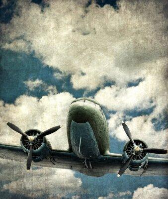 Obraz Stary samolot wojskowy, zabytkowe tło