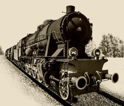 Obraz Stary silnik parowy lokomotywa