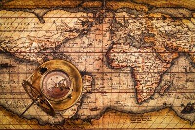 Obraz Stary vintage Kompas na mapie starożytnego