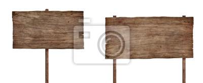 Obraz stary wyblakły znak drewna na białym tle 4