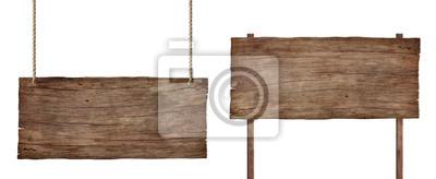 Obraz stary wyblakły znak drewna na białym tle