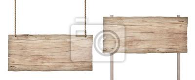 Obraz stary wyblakły znak światła drewna na białym tle