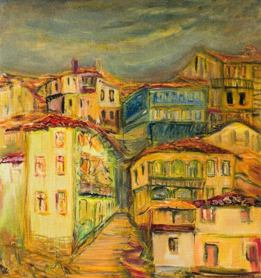 Obraz Stary żółty Village Houses