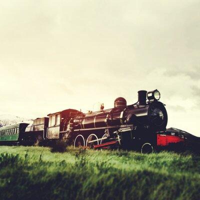 Obraz Steam Train W otwartej przestrzeni Naturalna scena Praca