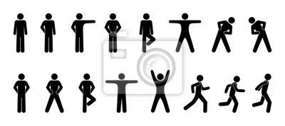 Obraz stick figure, zestaw ikon ludzi, podstawowy ruch, mężczyzna stawia, piktogram sylwetki ludzi