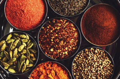 Obraz Stojak z tradycyjnych indyjskich przypraw do gotowania - kardamon, kurkuma, kminek, nasiona kolendry, cynamon i chili