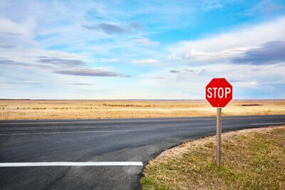Stop road sign at an intersection in Badlands National Park, South Dakota, USA.