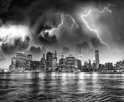 Storm coming towards New York City skyline, USA
