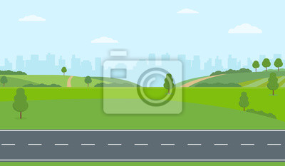 Obraz Straight empty road through the countryside on city background. Green hills, blue sky, meadow. Summer landscape vector illustration.