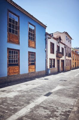 Street in San Cristobal de La Laguna (known as La Laguna), its historical center was declared a World Heritage Site by UNESCO in 1999, color toned picture, Tenerife, Spain.