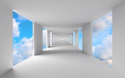 Obraz Streszczenie 3d architektura, pusty biały korytarz z nieba
