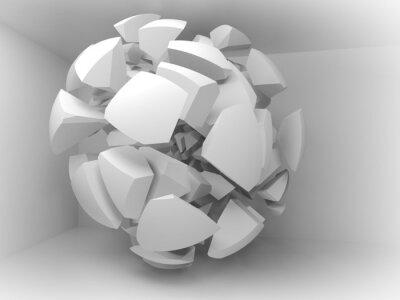 Obraz Streszczenie 3d tle z białych fragmentów wielkiej kuli