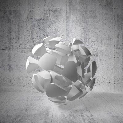 Obraz Streszczenie 3d tle z białych fragmentów wielkiej kuli w emp