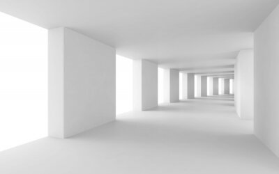 Obraz Streszczenie 3d tło, zgięty biały korytarz pusty