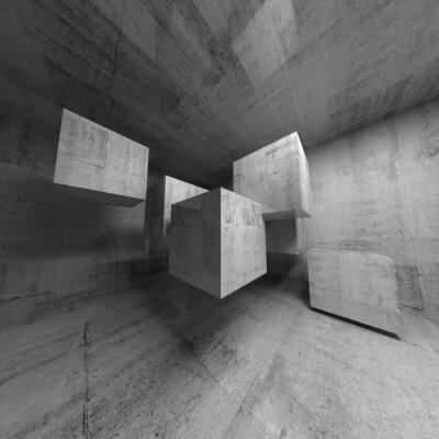 Obraz Streszczenie 3d wnętrze z betonowych kostek latających