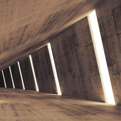 Obraz Streszczenie beton 3d wnętrze z jasnych pasków perspektywa