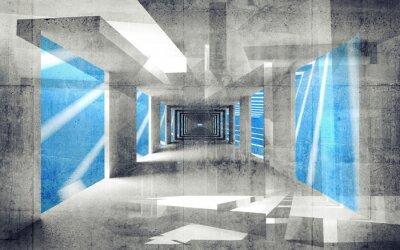Obraz Streszczenie beton 3d wnętrze z perspektywy ściany grungy