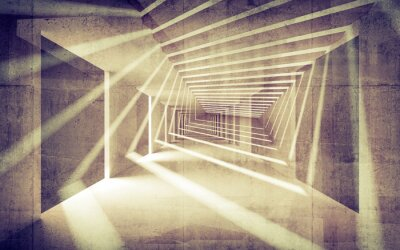 Obraz Streszczenie beton 3d wnętrze z perspektywy wiązek światła