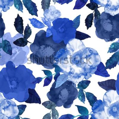 Obraz Streszczenie bezszwowe ręcznie malowane tła akwarela. Na białym tle niebieskie kwiaty i liście. Ilustracji wektorowych.