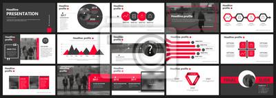 Obraz Streszczenie białe, czerwone slajdy prezentacji. Nowoczesny projekt okładki broszury. Ozdobna ramka z banerem informacyjnym. Zestaw elementów kreatywnych infographic. Czcionka miejskiego miasta. Wzór