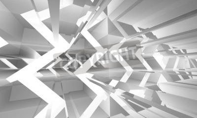 Obraz Streszczenie białe tło z cyfrowym chaotycznie lekkich konstrukcji wzór, ilustracji 3d