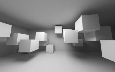 Obraz Streszczenie białe wnętrze z latania kostek. 3d render