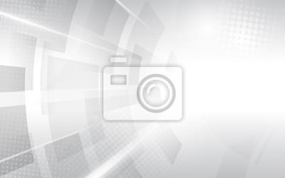 Obraz Streszczenie biały i szary nowoczesny kwadratowy kształt z półtonów. Futurystyczny koncepcja tło