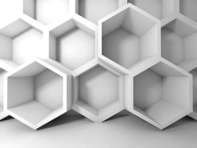 Obraz Streszczenie biały struktura plastra miodu na ścianie. 3d wnętrza z powrotem