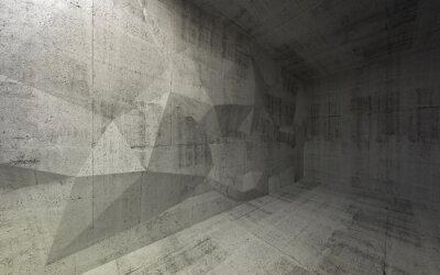 Obraz Streszczenie ciemne wnętrze z betonu 3D struktury na t wielokąta