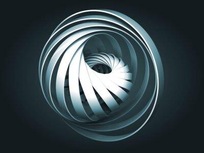 Obraz Streszczenie ciemny niebieski cyfrowy obiekt wykonany z 3d spirala