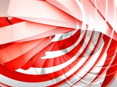 Obraz Streszczenie cyfrowe tła z czerwonym i białym 3d spirali