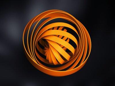 Obraz Streszczenie cyfrowych przedmiot wykonany z żółtego 3d spirala