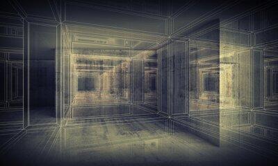 Obraz Streszczenie cyfrowych tle wnętrza wnętrze 3d